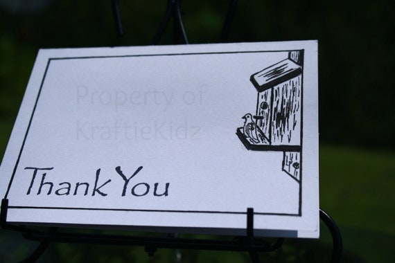 Handmade, Blank, Bird House Thank You Card, Pen and Ink