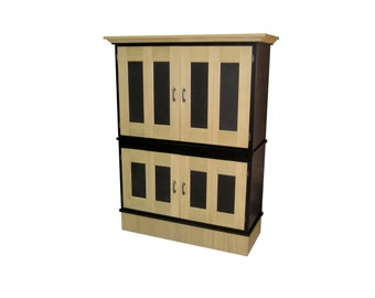 TV / Entertainment cabinet.  White Oak, with genuine black leather.