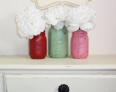 3- Hand Painted Mason Jars Flower Vases-Country Decor-Cottage Chic-Shabby Chic-French Chic