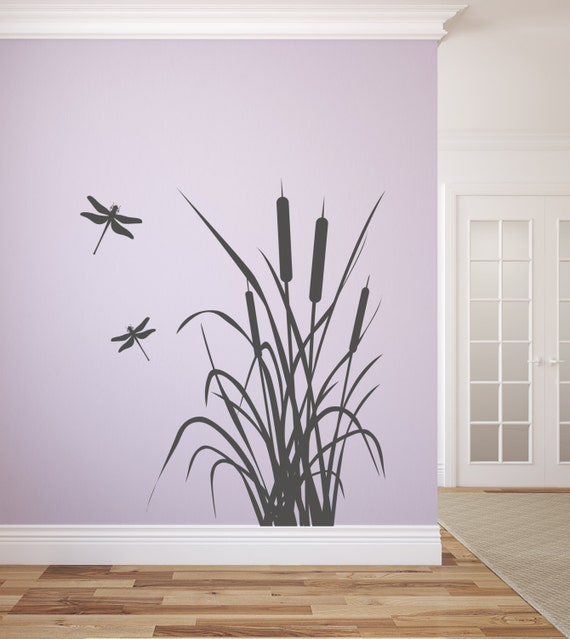 Dragonfly And Cattails Vinyl Wall Decal Graphics By Stickerhog