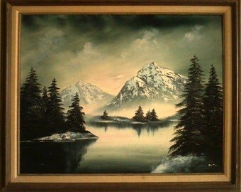 Large Vintage Oil Painting  1971 - Mountains and Lake Landscape by Sculey