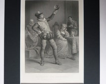 Original 1883 William Shakespeare Print - Taming Of The Shrew - Comedy - Matted - Black & White - Katharina - Petruchio - Thigh High Boots