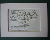 Vintage 1950 Edward Lear Print - Pantry - Rice - Sleep - Victorian Poetry - Limerick - Poem - Matted - Nonsense Rhyme - Mice - Sleeping