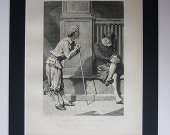 Antique 1883 Two Gentlemen Of Verona Print - William Shakespeare - Comedy - Italy - Speed & Launce - Engraving - Stage Play - Theatre