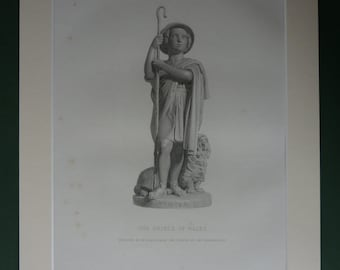 Original 1896 Edward VII Matted Print - Victorian - Queen Victoria - Winter - British History - Prince Of Wales - Engraving