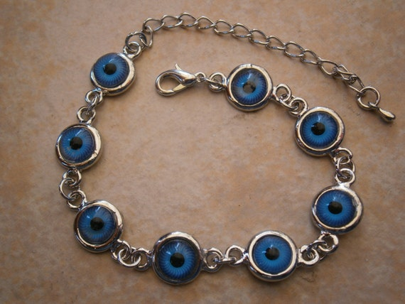 greek evil eye silver round bead bracelet or anklet charm