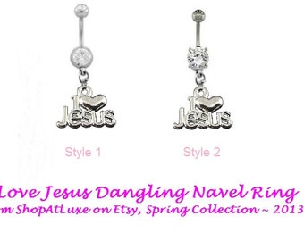 I Love Jesus Dangling Navel Belly Ring