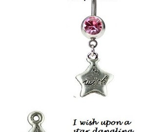 I WISH Upon A STAR Dangling Navel Belly Ring