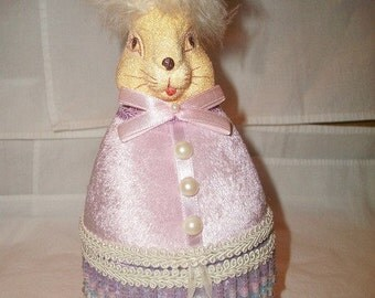 velvet lilac bunny ornament/container