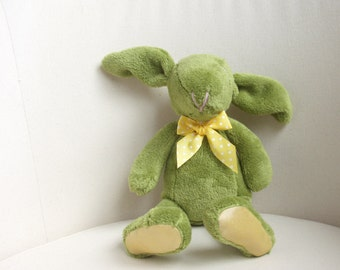 Plush bunny, rabbit, stuffed, green, yellow,, Easter bunny - baby shower toy