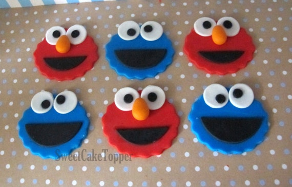 Elmo And Cookie Monster Inspired Cupcake Topper Handmade