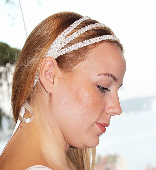 Wedding Hair With Rhinestone Headband : Wedding bridal rhinestone headband hair accessory