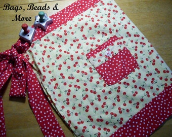 Adult Half Apron with Cherries with  Red & White Polka Dots.