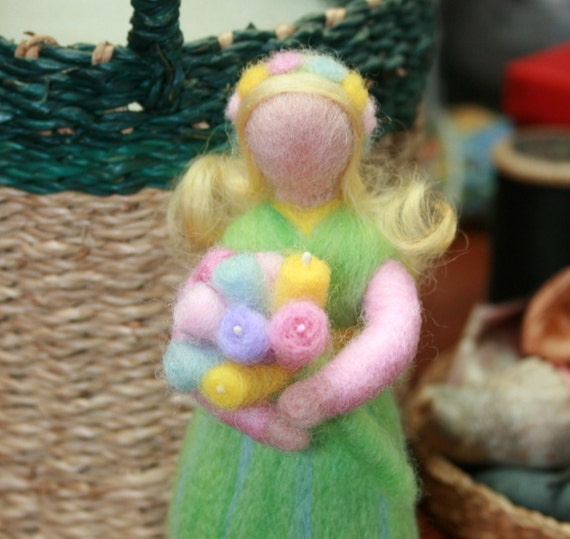 NATURE TABLE SPRING  Maiden Needle Felted Art Doll