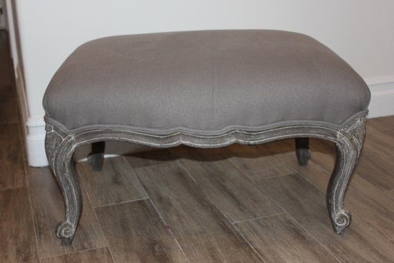 Romantic gray linen refinished ottoman