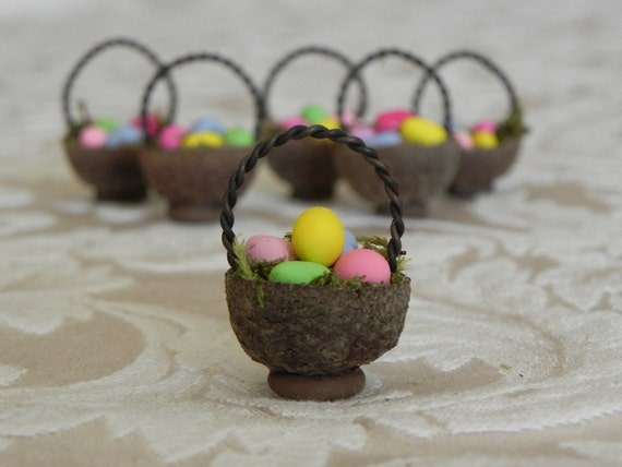 Miniature Acorn Cap Easter Basket with colored eggs
