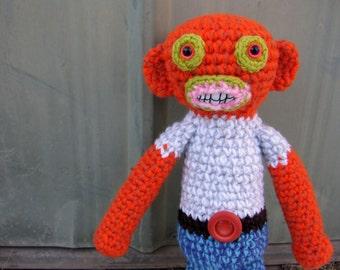 Wormzer  -handmade crochet, made to order, belt buckle may vary