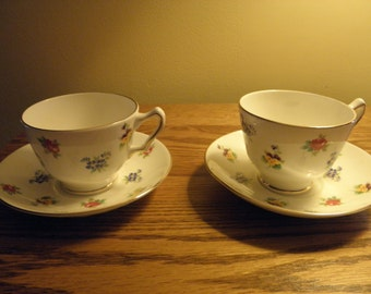 Bone China Cups and Saucers from Staffordshire England