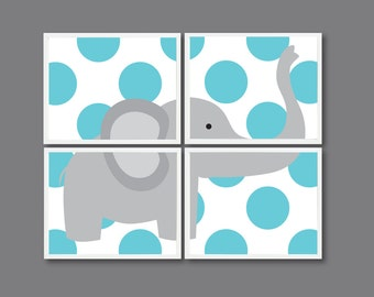 Elephant Nursery Art Print Set of Four - 8x10 - Polka Dots - Kids Room, Nursery, Home Decor - Blue and Grey/Gray OR Choose Colors - 4