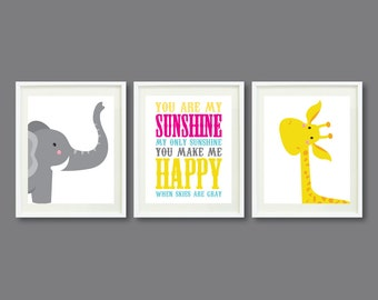 You Are My Sunshine-Set of Three Art Prints-8x10-Kids Room-Nursery-Home Decor-Pink-Yellow-Aqua-Grey-Giraffe-Elephant-Modern Wall Art-Trio-3