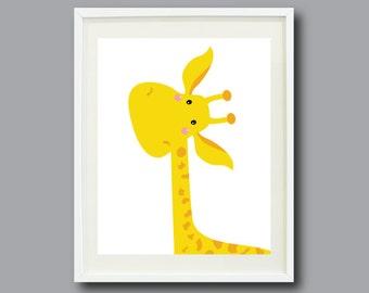 Giraffe Art Print 11x14-Yellow and Orange OR You Choose Colors-Nursery, Kids Room, Home Decor, Playroom, School-Modern Wall Art