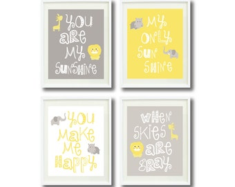 You Are My Sunshine-Set of Four Art Prints-8x10-Kids Room, Nursery, Home Decor-White, Yellow and Grey/Gray-Safari Animals-Elephant, Giraffe