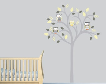 Owl tree decal, Owl tree wall sticker, Owl Nursery Art, owl wall decal, nursery owl decor, Aiden Design