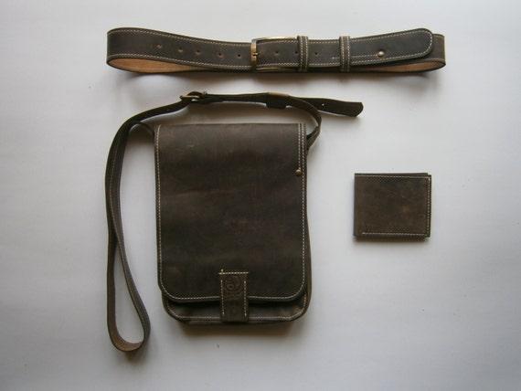 Leather Bag, Man Leather Gift Set: iPad full grain leather bag, a full grain leather wallet and a full grain leather belt