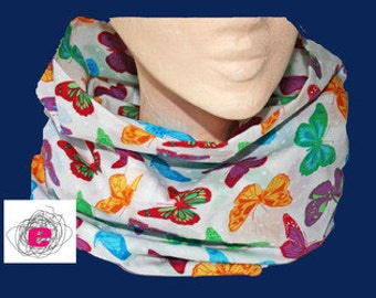 Infinity scarf , loop butterflies