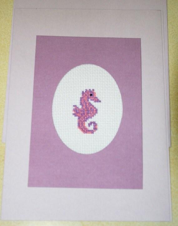 seahorse greeting card cross stitch greeting by bluetopazstitchery, Greeting card