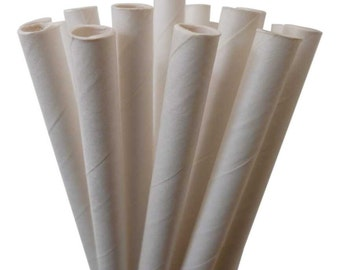 Solid White Paper Straws, 25 WHITE Paper Straws, Cream Paper Straws, Cake Pops, Ivory Weddings, Diy Flags