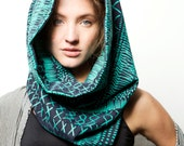 Sale Handmade Infinity scarf, Screen printed mint green and black neck accessory, Handmade by Dikla Levsky - DiklaLevskyDesign