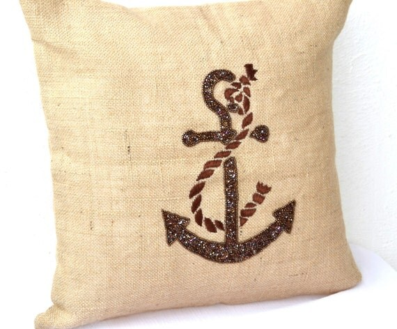 Nautical Decorative Throw Pillows : Decorative throw pillows Nautical anchor pillow cover Burlap