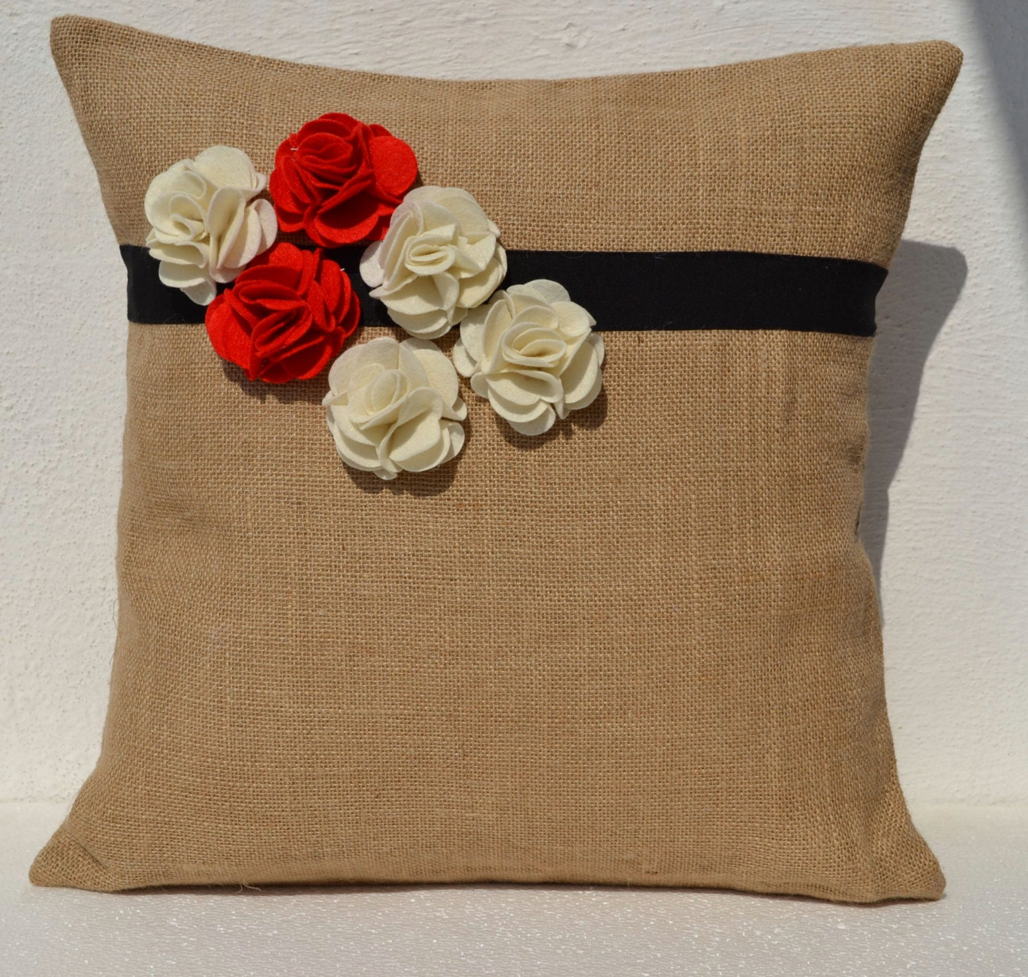 How To Make A Burlap Throw Pillow : Burlap Throw Pillows With Flowers Decorative Cushion Cover