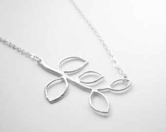 Elegant necklace with silver flower petals on silver chain