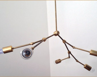 "Modern brass ""Branch"" chandelier - 5 Bulb - Number 11 MADE IN LA"