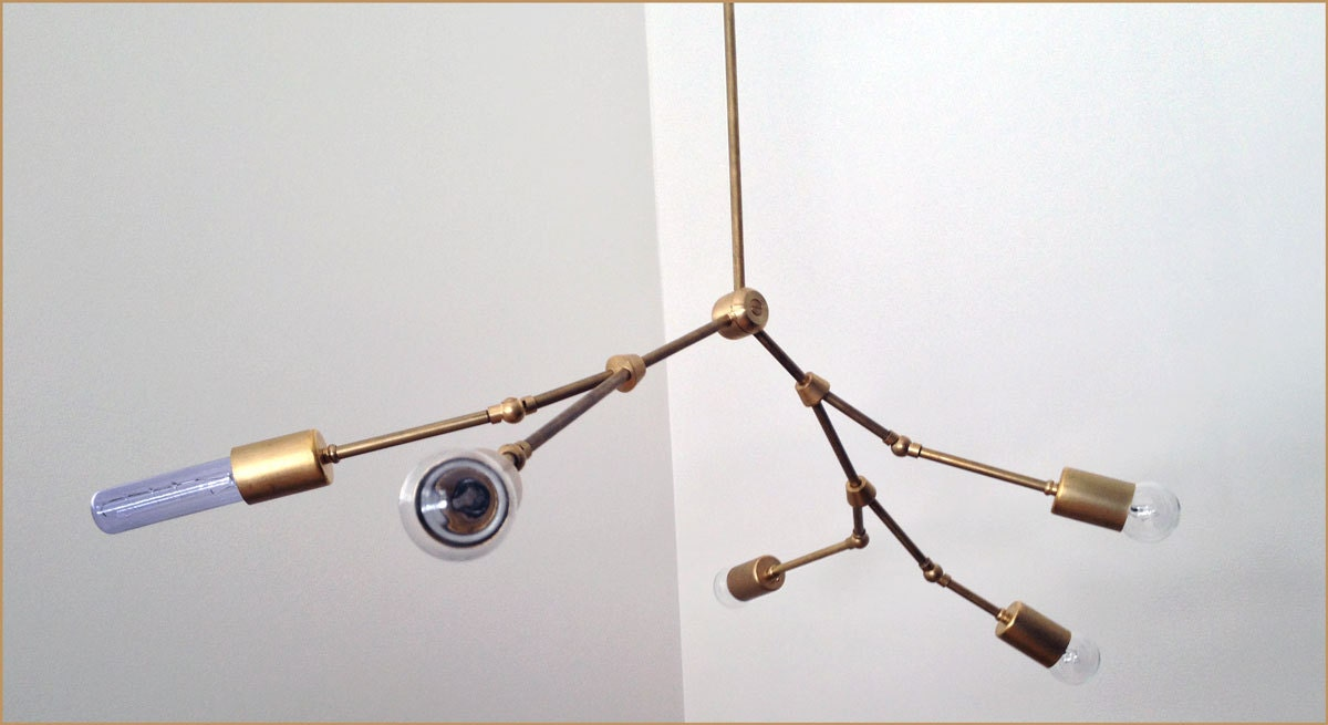 Modern brass Branch chandelier 5 Bulb Number