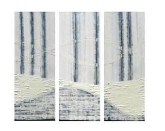 "Art Painting ORIGINAL Contemporary abstract art - acrylic modern painting -18 x 47 x 1.5"" 3 pics."