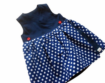 Dress, Gr. 62-104, Navy Blue and white spotted cotton