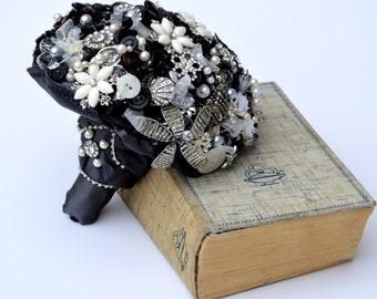 Black Brooch Bouquet, black bouquet, vintage wedding