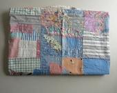 Vintage 1930's Handmade Patchwork Feedsack Crazy Quilt - Handsewn 30's Patchwok Quilt