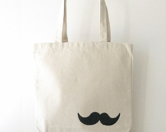 "Canvas Tote Bag - Mustache Tote Bag - Mustache hand written on a 13""x 13"" Tote Bag"