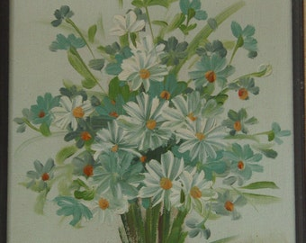 Vintage original oil on canvas painting of flowers signed by the artist Hill