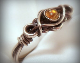 Wire Wrapped Sterling Silver Citrine Gemstone Ring
