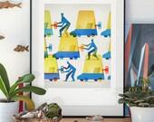 Teamwork. Illustration art giclee print signed by the artist Pawel Jonca. A2 poster.