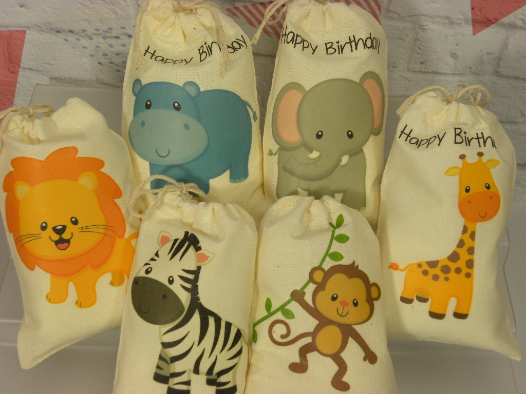 jungle animals favor bags baby shower birthday baby by lapinkmoon