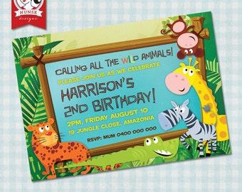 Kids Jungle/Safari birthday party invitation - Custom, Printable
