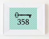 Personalized Wedding Gift/ Anniversary Gift /House Warming Gift- Personalized Vintage Key with House Number - 5x7 Archival Print -