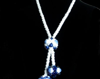 Ceramic Aqua Beads Crocheted Lariat Necklace and Earrings Set