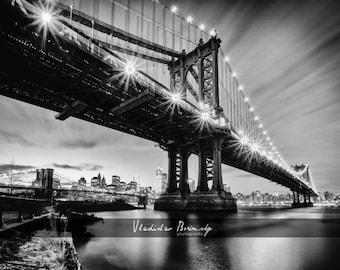 New York Photography - Manhattan Bridge Night, Brooklyn Bridge, New York, Black and White Photograph, Brooklyn, New York - 8x10 photo